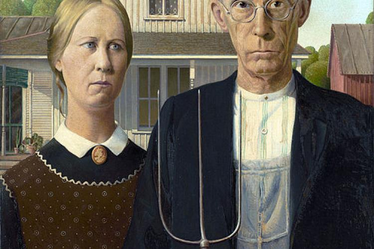 Detail of the picture American Gothic, by Grant Woods.