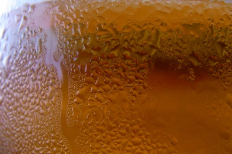 Detail of cold beer in a glass.