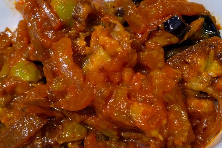 Close up of Sicilian caponata sauce.
