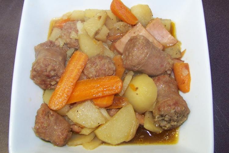 Irish coddle on a white serving plate.
