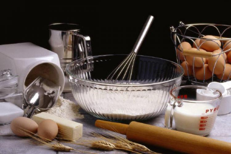 Ingredients and tools to bake a cake.