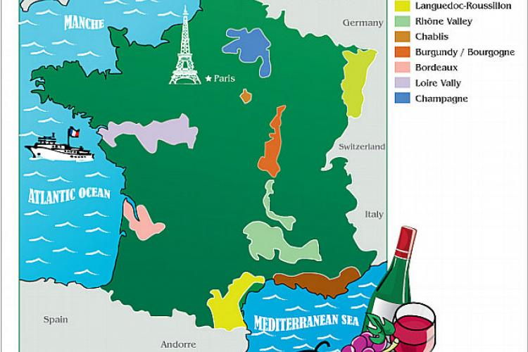 French wine map.