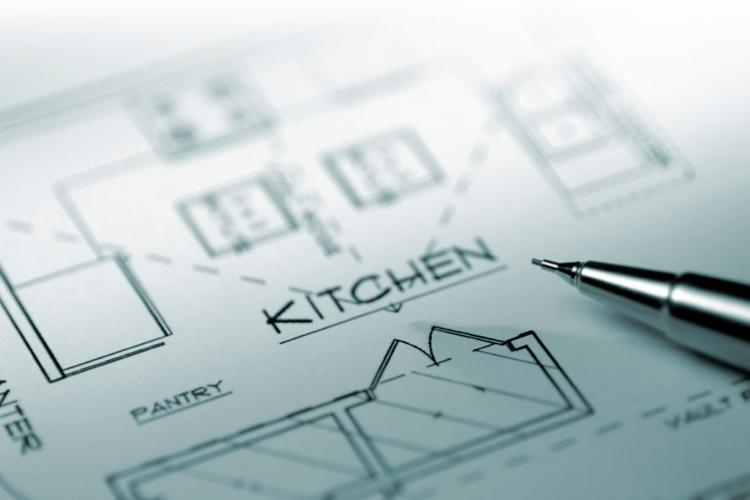 Kitchen drawing with space design.