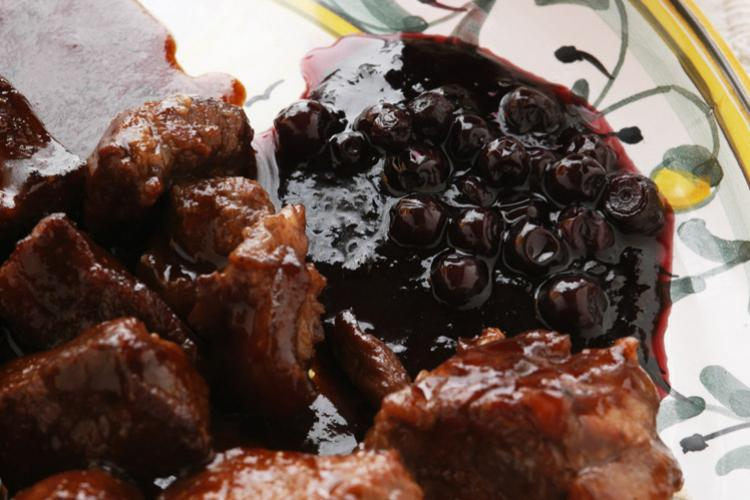 Venison with blueberry sauce.