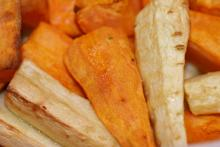 Roasted chunks of sweet potato and parsnip.