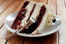 A slice of Black Forest cake.