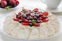 Strawberry and blueberry pavlova.